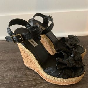 Steve Madden • 7.5 • High Black Wedges with Bow •